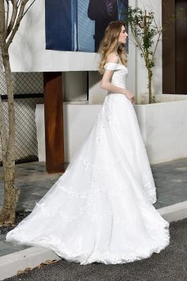 Gorgeous A-Line Lace Off Shoulder Floow Length Wedding Dresses_7