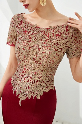 Bateau Short Sleeves Applique Fitted Long Prom Dresses | Burgundy Evening Dresses_7