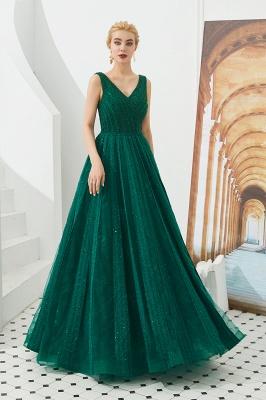 Gorgeous Straps V-neck A-line Long Prom Dresses | Jade Floor Length Evening Dresses_4