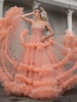 Sleeveless Tulle Ruffles Spaghetti Straps Sexy Coral Prom Dresses | Gorgeous Long Evening Dresses_2