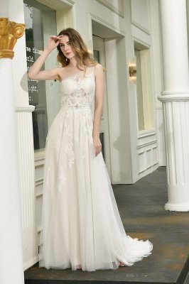 One Shoulder Tulle Sexy A-Line Lace Wedding Dress_1