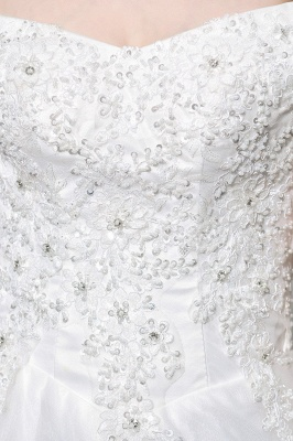 Cheap White Off the Shoulder Lace Beading Mermaid Wedding Gowns_11