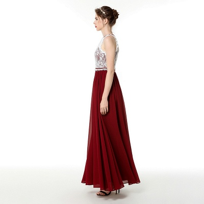 Jewel Sleeveless Long Chiffon Lace Prom Dresses | Floor Length Evening Dresses_3