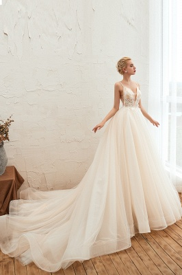 Gorgeous Spaghetti Straps V-neck Floor Length A-line Lace Tulle Wedding Dresses_11