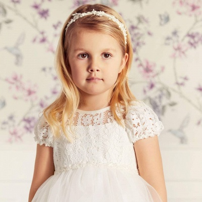 Cute Jewel Puffy Sleeves Ribbon Belt A-line Lace Tulle Flower Girl Dresses_3
