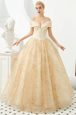 Off the Shoulder A-line Long Lace Beaded Prom Dresses |  Floor Length Evening Dresses_2