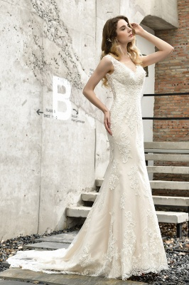 Cheap Long Lace Wedding Dresses Backless Floor Length Straps Online_9