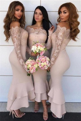 Long Sleeves Tea Length Lace Mermaid Sexy Bridesmaid Dresses  | Affordable Maid of Honor Dresses_4