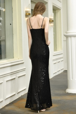 Black Spaghetti Strap V Neck Sequined Front Slit Floor Length Sheath Prom Dresses | Backless Evening Gown_7