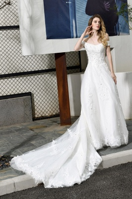 Cheap White Off the Shoulder Lace Beading Mermaid Wedding Gowns_6