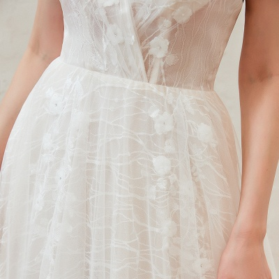 Gorgeous Spaghetti Straps Sweep Train V-neck Lace-Up Lace Wedding Dresses_18