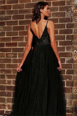 Spaghetti Straps Open Back Lace Appliques V-neck Sexy Black Prom Dresses with a Leg Slit_2