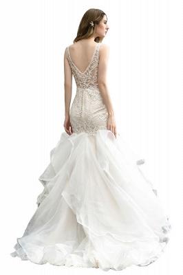 Wholesale Long Mermaid Lace Organza Wedding gowns Ruffles Train_4