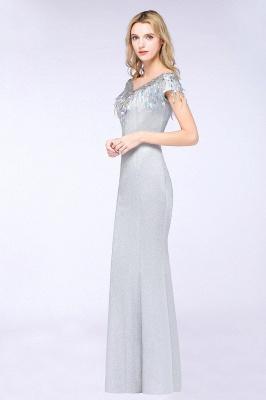 Elegant Jewel Short Sleeves Sequins Evening Dress with Tassels On Sale_4