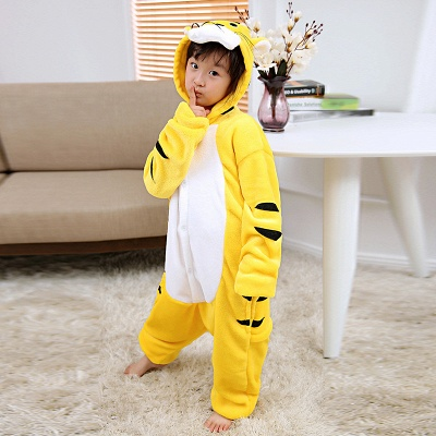 Cute Animal Pyjamas for Kids Tiger Onesies, Yellow_3
