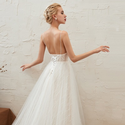 Gorgeous Spaghetti Straps Sweep Train V-neck Lace-Up Lace Wedding Dresses_16