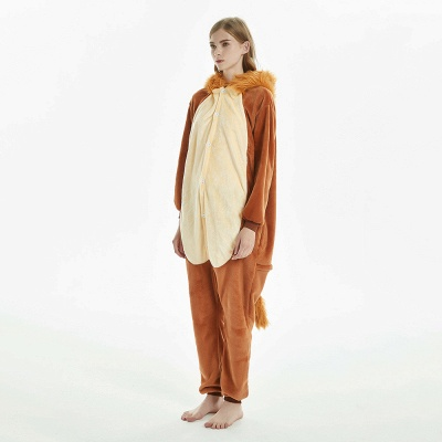 Super Soft Adult Lion Brown Onesies Pajamas for Girls_2
