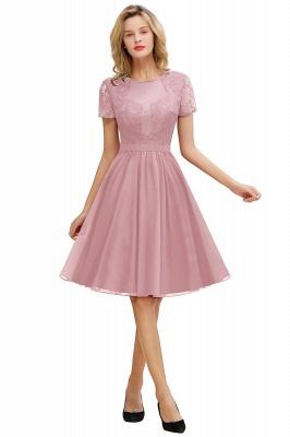 Jewel Kee Length Short Sleeves Lace Bridesmaid Dresses | Burgundy Wedding Gues Dresses_1