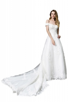 Cheap White Off the Shoulder Lace Beading Mermaid Wedding Gowns_4