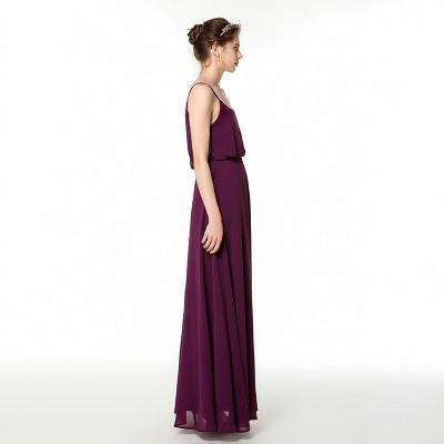 Spaghetti Straps Front Slit Long Chiffon Prom Dresses | Floor Length Evening Dresses Online_5