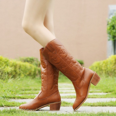 Fashion Brown Knee High Women's Boots_1