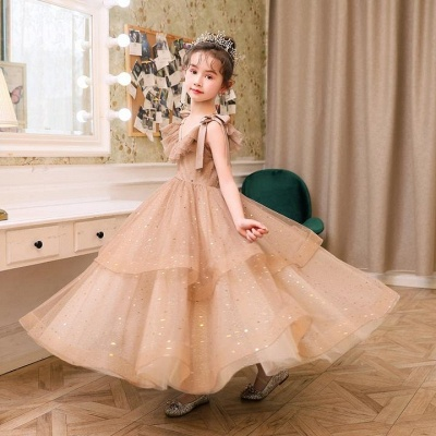 V-neck Straps Tulle Puffy Princess Flower Girl Dresses | Kids for Dress for Wedding_3