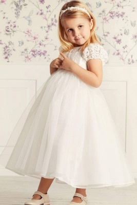 Cute Jewel Puffy Sleeves Ribbon Belt A-line Lace Tulle Flower Girl Dresses_1