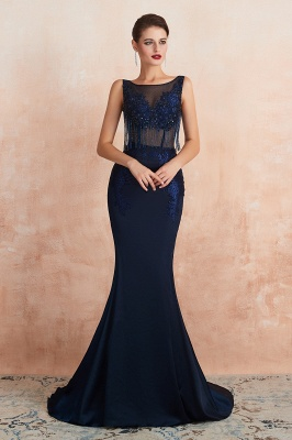 Bateau Backless Beaded Sexy Long Mermaid Prom Dresses | Glamorous Floor Length Evening Dresses_6