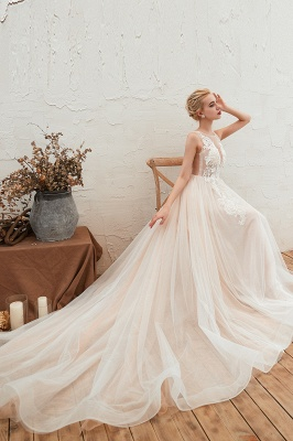 Round Neckline Sleeveless A-line Lace Up Sweep Train Lace Appliques Wedding Dresses_5