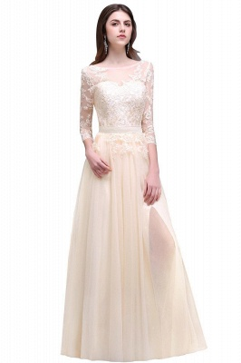 Cheap Lace Appliques Split Long Tulle Prom Dress in Stock_4