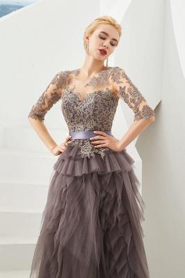 Elegant Jewel Half Sleeves Ribbon Belt A-line Lace Tulle Prom Dresses_3