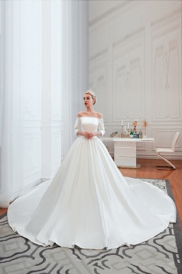 Gorgeous Off the Shoulder Half Sleeves Floor Length A-line Satin Wedding Dresses_4