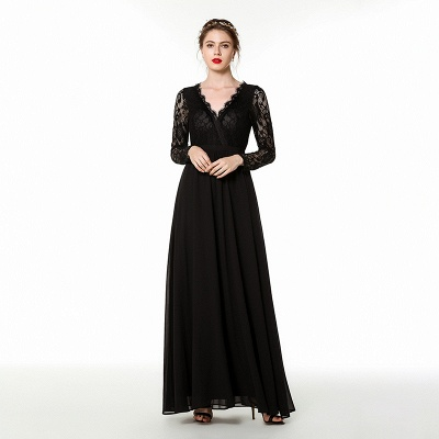 V-neck Long Sleeves Floor Length Lace Prom Dresses | Long Black Evening Dresses