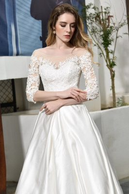 Cheap Lace Half Sleeves V Neck Wedding Gowns Satin with Train_12