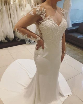 V-neck Sweep Train Fitted Lace Wedding Dresses with Long Sleeves_3
