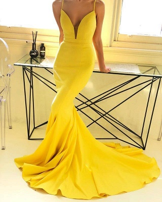 Spaghetti Straps Deep V-neck Yellow Sexy Mermaid Prom Dresses | Chic Style Formal Dresses Long_1