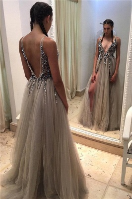 2019 Luxury Prom Dresses Deep-V-neck Crystals Open Back Side Slit A-line Evening Gowns_2