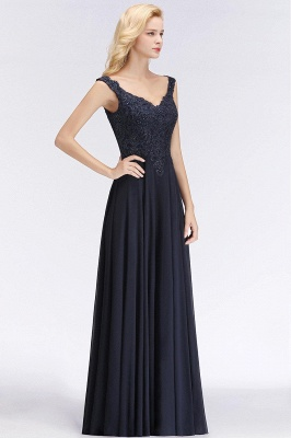 Straps V Neck Backless Applique Pears Chiffon  Floor Length A Line Prom Dresses_3
