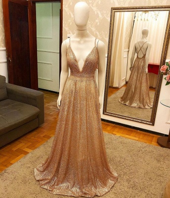Alluring V-neck Criss-Cross Straps A-line Long Sequined Prom Dresses_2