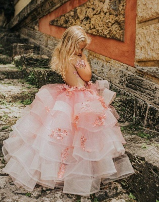 Jewel Short Sleeves Tiered Tulle Flower Girl Dresses with Handmade Flowers_2