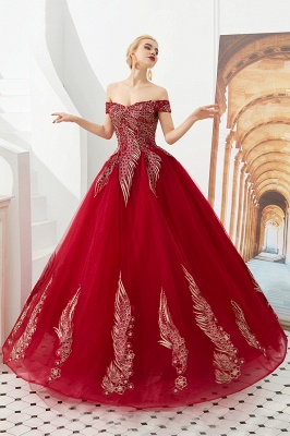 Glamorous Off the Shoulder Sweetheart Applique A-line Floor Length Prom Dresses_4