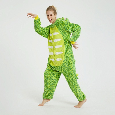 Cute Animal Pyjamas for Women Triceratops Onesie, Green_11