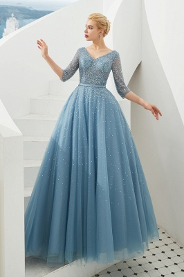 Gorgeous Half Sleeves V-neck A-line Floor Length Prom Dresses | Long Tulle Evening Dresses_3