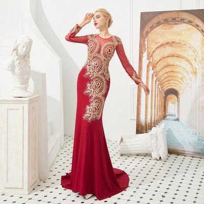 Gorgeous Form-fitting Long Sleeves Floor Length Prom Dresses | Long Beaded Evening Dresses_9