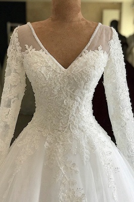 Luxury V Neck Long Sleeve A-Line Applique Wedding Dresses | Lace Beading Ruffles Puffy Bridal Gown_3