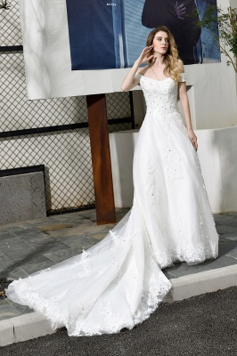 Gorgeous A-Line Lace Off Shoulder Floow Length Wedding Dresses_9