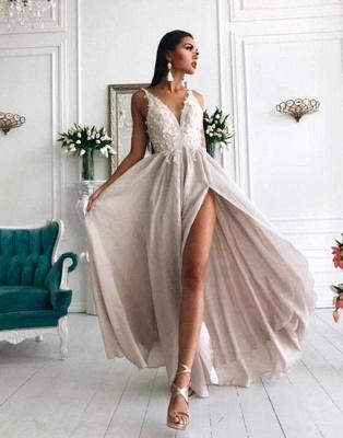 Sexy V-Neck Evening Gowns | Appliques Side Slit Formal Dresses_2