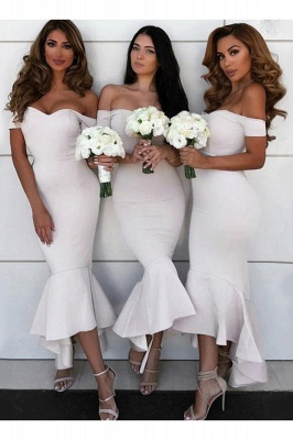 Tea Length Off the Shoulder Mermaid Bridesmaid Dresses | Affordable Maid of Honor Dresses_3