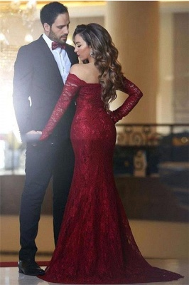 Long-Sleeve Red Mermaid Long Elegant Lace Off-the-shoulder Evening Dress_3