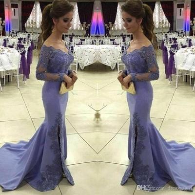 2019 Off-the-Shoulder Prom Dresses Side-Slit Appliques Mermaid Long Sleeves Lavender Prom Dress_2